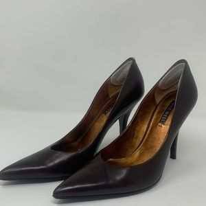NINE WEST Pointy Toe Pump, Leather, Brown, 8.5